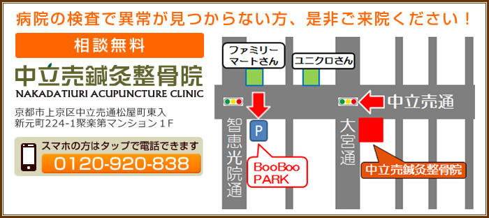 京都市上京区 中立売鍼灸整骨院へのお問い合わせ・ご予約はこちらへのお問い合わせはこちら